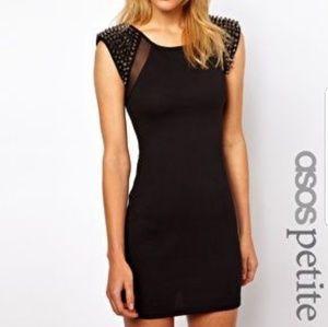 NWOT Asos Petite black spiked mesh bodycon dress 2